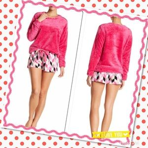 (J) Pink Gray Fleece Top Shorts Sleep Lounge Set